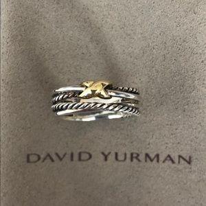New David Yurman X Crossover Ring Silver &18k gold